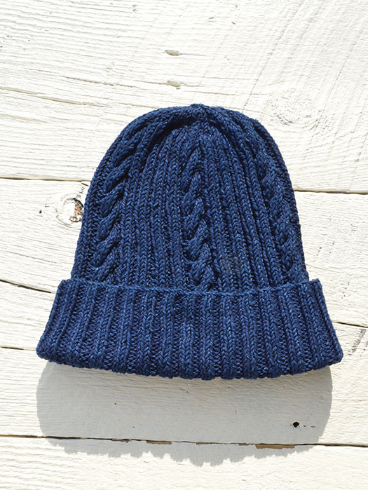 22F Cotton Denim Hand Knit Cap (Single Weight)