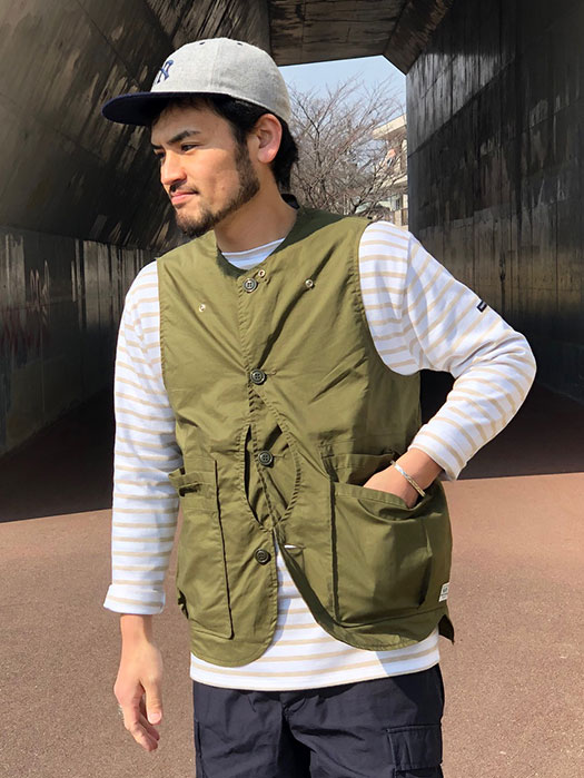 Whole Hole Vest (Poplin×Nylon Taffeta)