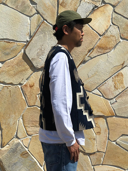 "【OAXACA】 RUG VEST ""DOUBLE CROSS"""