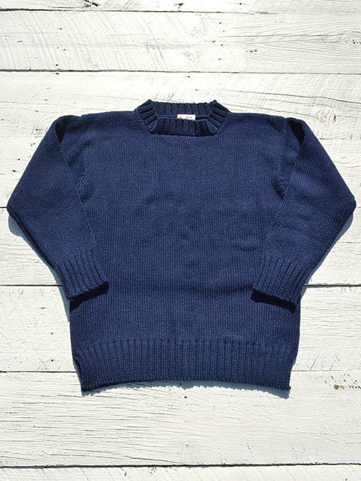 【DECK HAND】 INDIGO COTTON CREW NECK