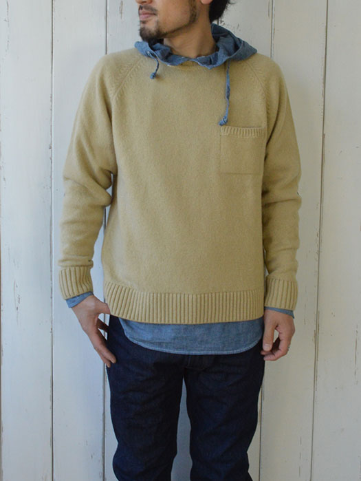 【40% OFF】 NR別注 Crew Neck Shetland Sweater with Pocket